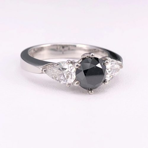 Round Black Diamond Ring