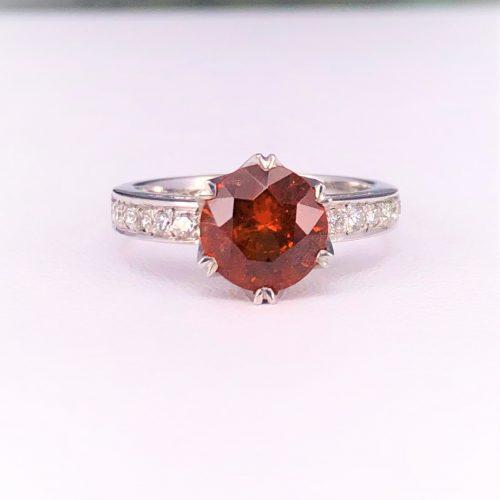 Round Orange Garnet Ring