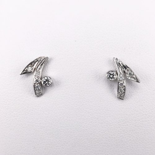 18ct White Gold Diamond Earrings with Pin