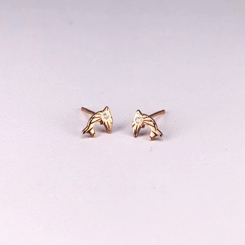 14ct Rose Gold Diamond Earrings