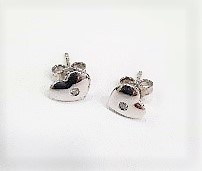 18ct White Gold and Diamond Heart Shape Earrings with Pin