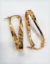 9ct Yellow Gold, Loose Twist Earrings