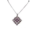 14ct White Gold Pendant with Brooch Fitting 25mm Length