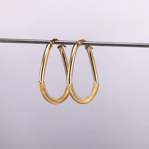 9ct Yellow Gold, Pear Shape Hoop Earrings