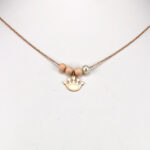 14ct Rose Gold Crown Pendant with Three red beads and one pearl & Chain