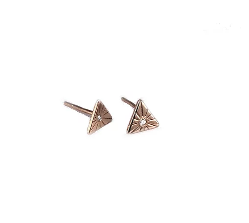 14ct Rose Gold and Diamond Earrings, Triangular Shape