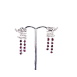 18ct White Gold Dragon Earrings with Pin