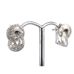 18ct White Gold Diamond Earrings with Pin and Clip