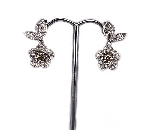 18ct White Gold Earrings with Pin