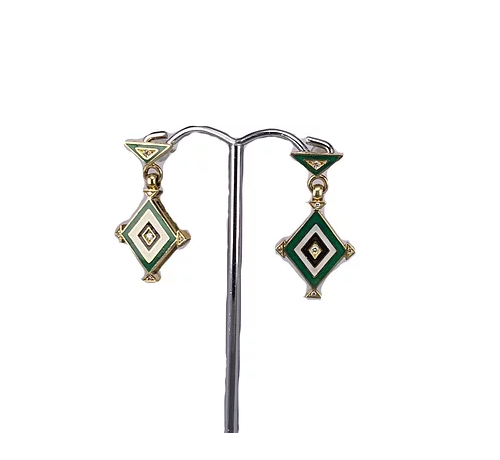 18ct Yellow Gold Earrings with Enamel and Diamond