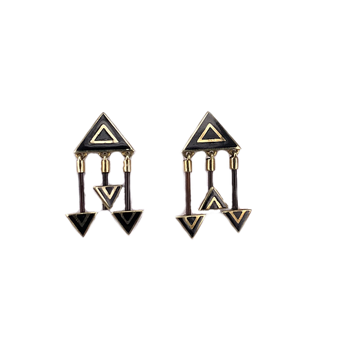 18ct Yellow Gold Earrings with Pin and Black Enamel, Joined with Elephant Hair