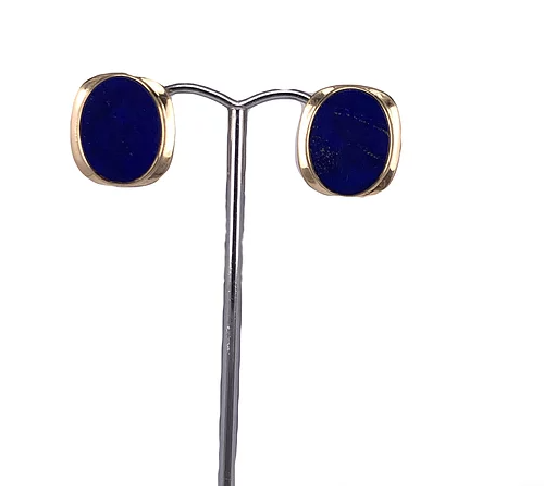 14ct Yellow Eold Lapis Lazuli Earrings with Pin and Clip on