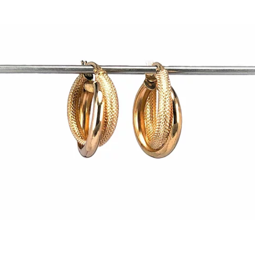 9ct Yellow Gold, Double Hoop Earrings